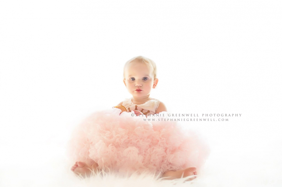 baby girl first birthday pettiskirt tutu pink white backdrop stephanie greenwell southeast missouri photographer