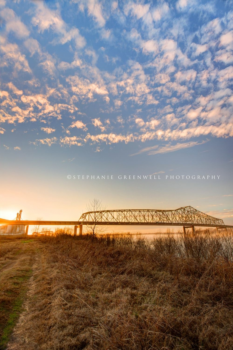 mississippi river bridge sunset landscape tennessee clouds southeast missouri photographer stephanie greenwell