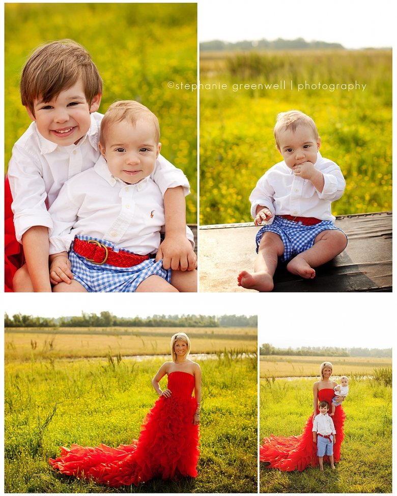 field flowers red dress baby boy boy brothers family stephanie greenwell