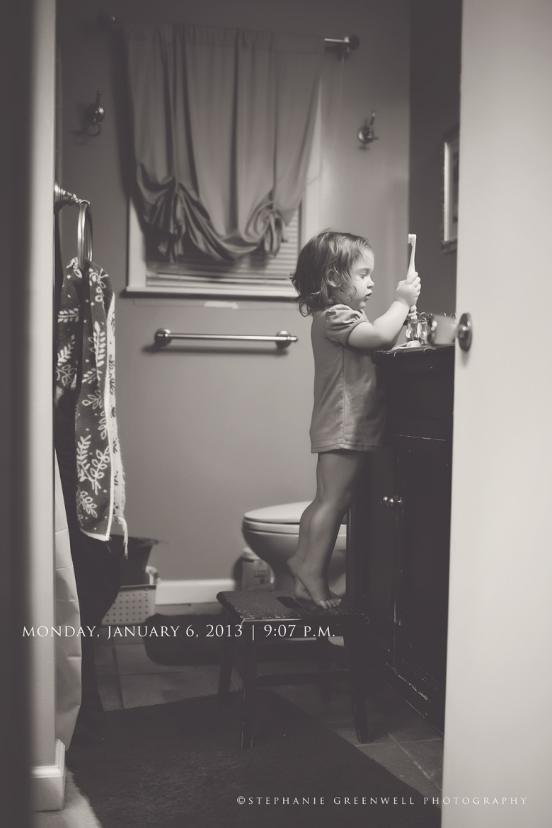 baby brushing teeth bathroom lifestyle project southeast missouri photographer stephanie greenwell