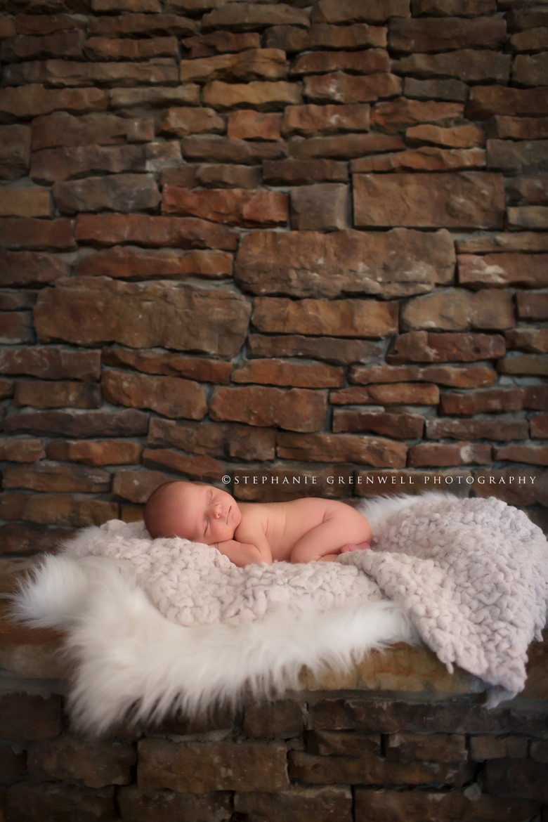 newborn stone wall texture banks memphis tennessee newborn photographer stephanie greenwell