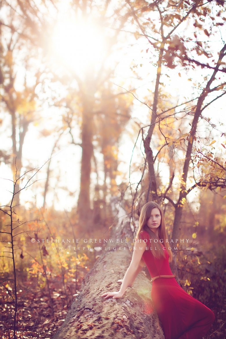 senior girl in red dress in woods vintage stephanie greenwell