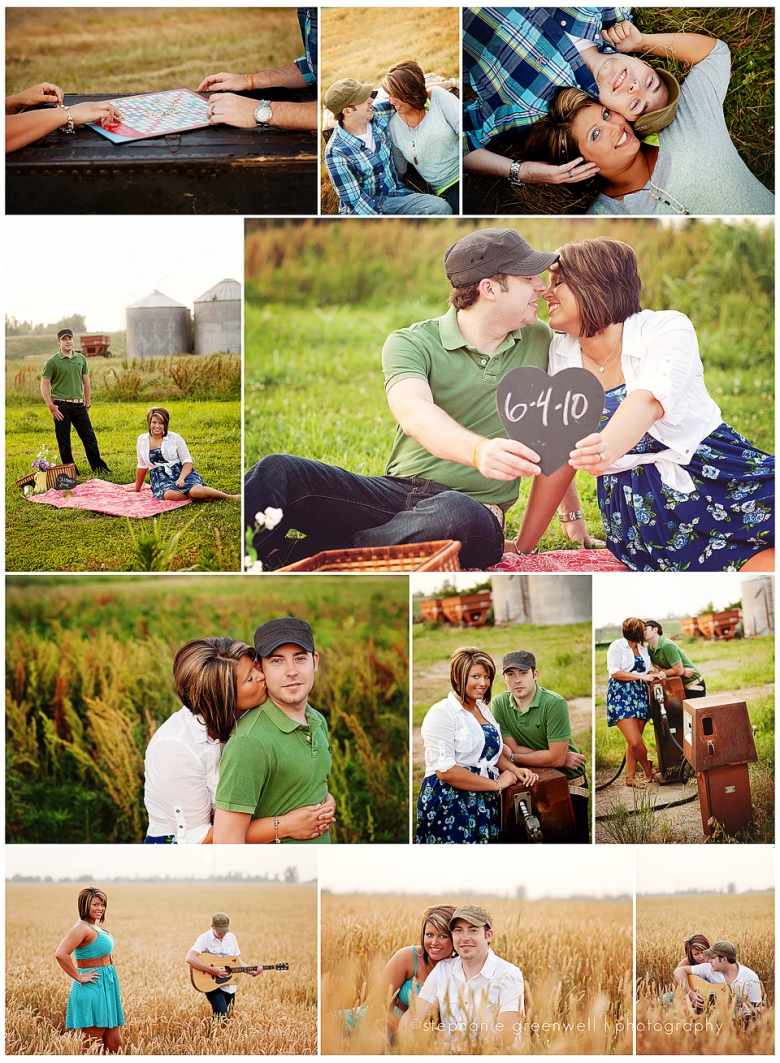 couples one year anniversary wheat field guitar picnic scrabble trunk photography