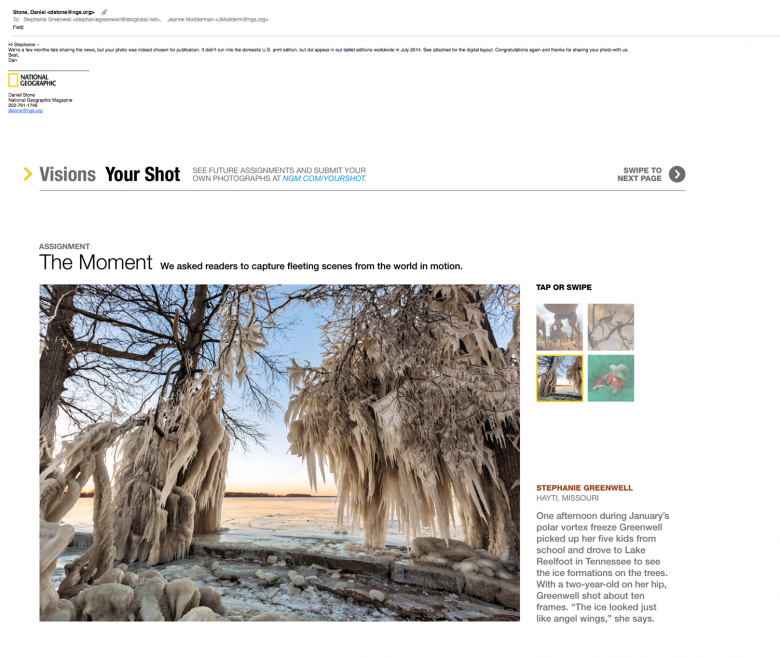 national geographic ice trees reelfoot southeast missouri photographer stephanie greenwell