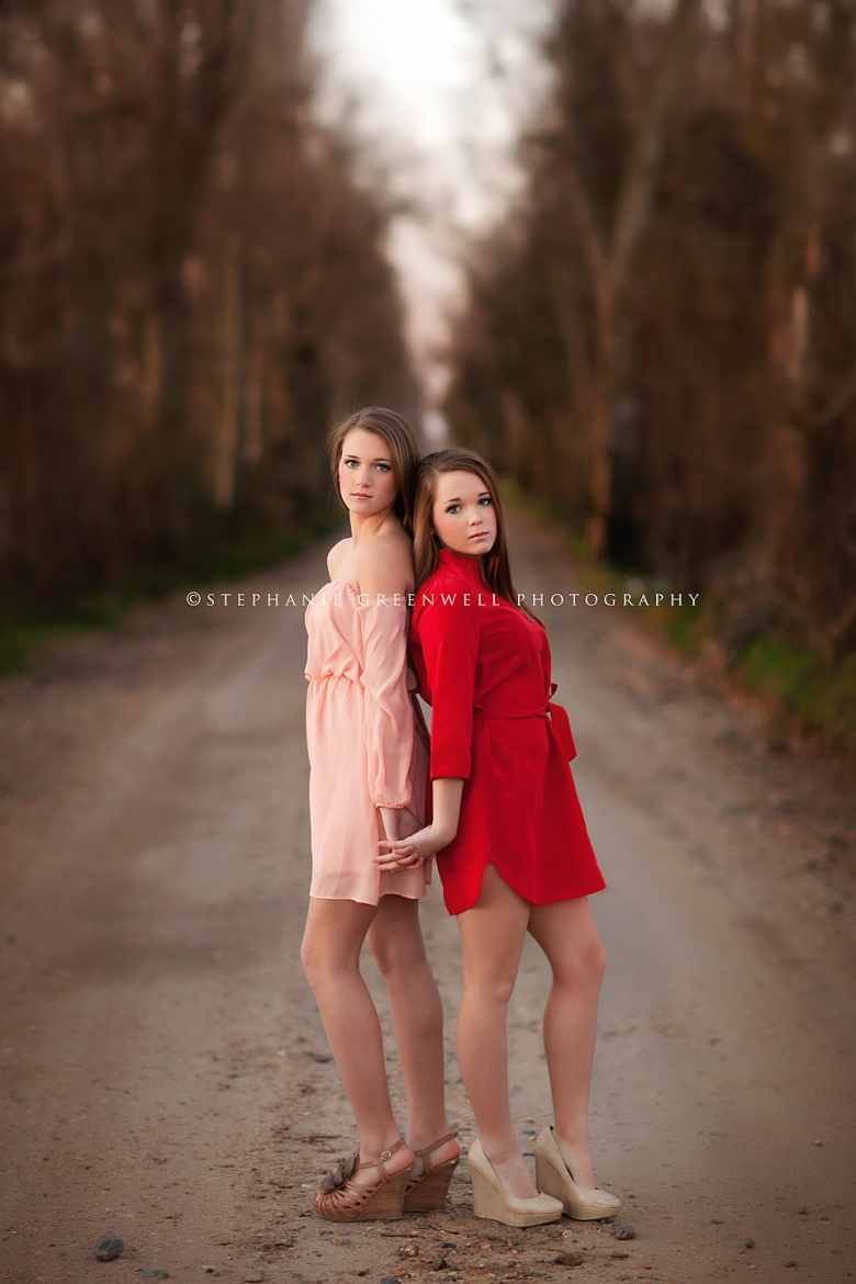 senior twin girls sisters gravel road senior style stephanie greenwell southeast missouri photography