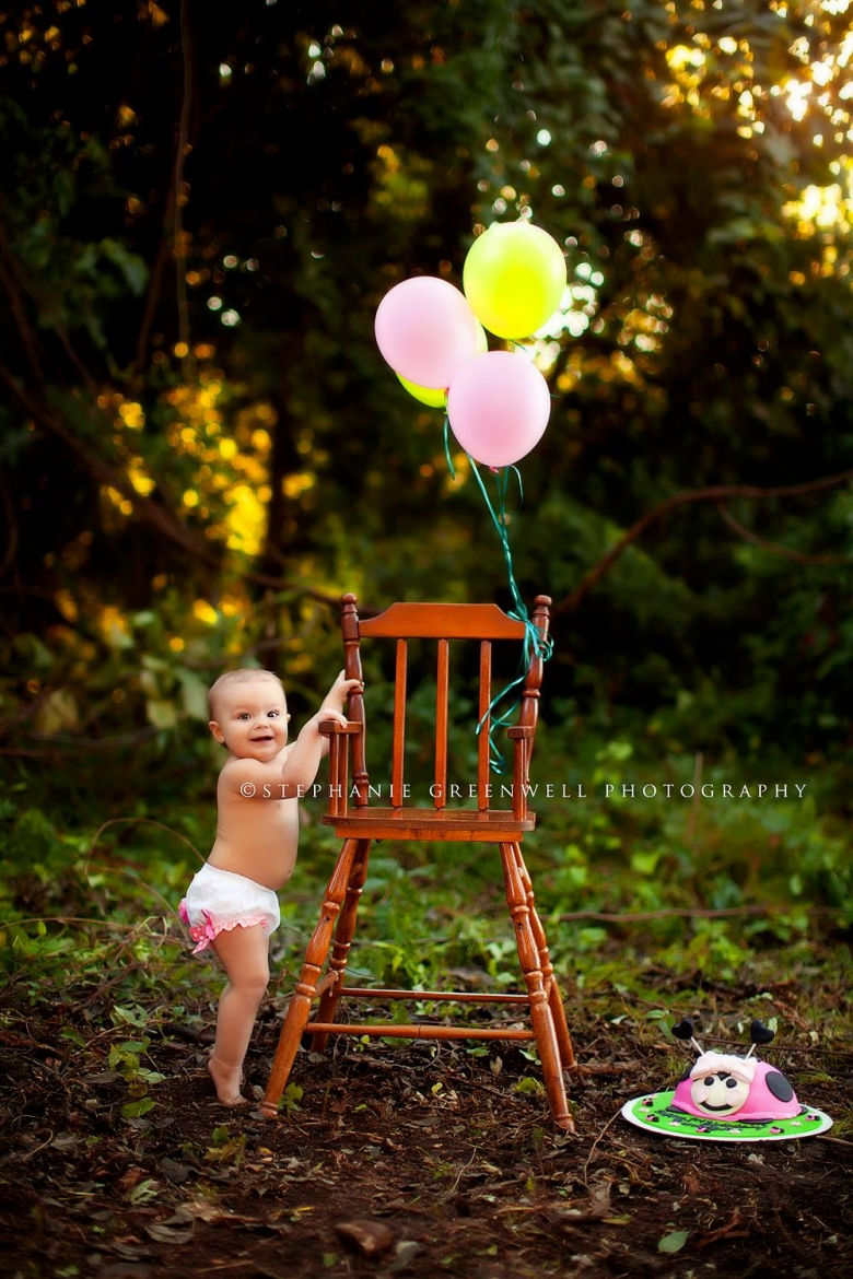 carliegh baby girl one year old balloons vintage high chair stephanie greenwell