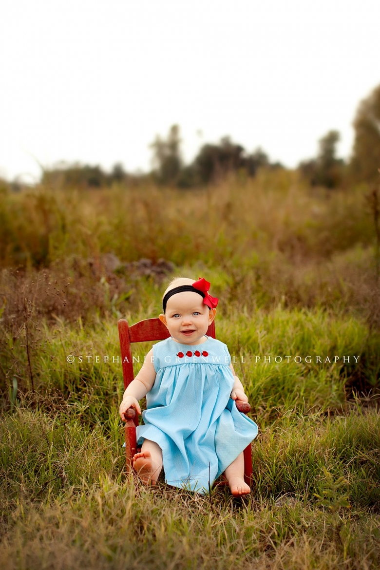 clayton baby one year field red chair hayti missouri stephanie greenwell photography